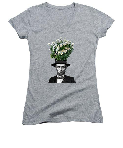 Abraham Lincoln Presidential Daisies Women's V-Neck T-Shirt (Junior Cut) by Garaga Designs