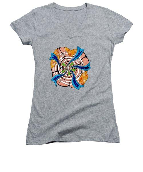 Abstract Digital Art - Ciretta V3 Women's V-Neck T-Shirt (Junior Cut) by Cersatti