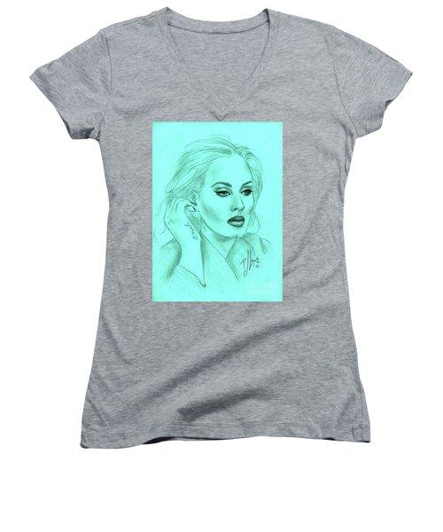 Adele Women's V-Neck T-Shirt (Junior Cut) by P J Lewis