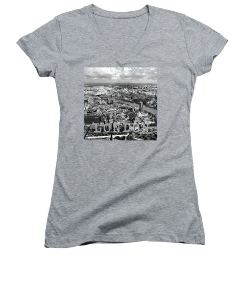 Aerial View Of London Women's V-Neck T-Shirt (Junior Cut) by Mark Rogan