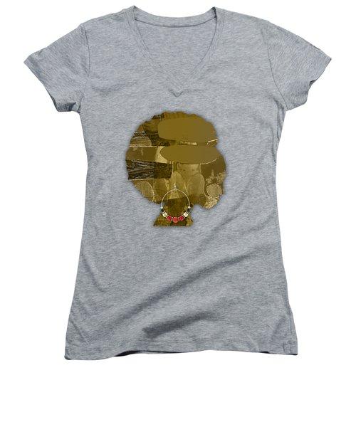 African America Women's V-Neck T-Shirt (Junior Cut) by Marvin Blaine