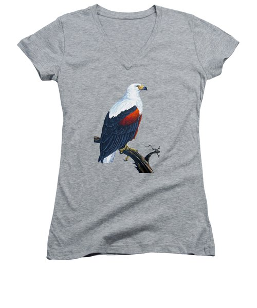 African Fish Eagle Women's V-Neck T-Shirt (Junior Cut) by Anthony Mwangi