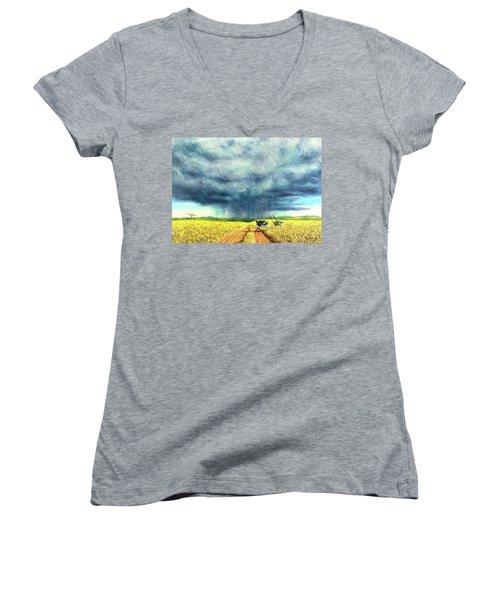 African Storm Women's V-Neck T-Shirt (Junior Cut) by Tilly Willis