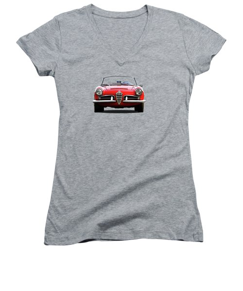 Alfa Romeo Spider Women's V-Neck T-Shirt (Junior Cut) by Mark Rogan