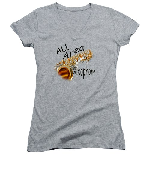 All Area Saxophone Women's V-Neck T-Shirt (Junior Cut) by M K  Miller