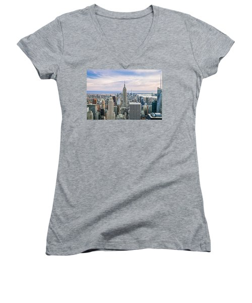 Amazing Manhattan Women's V-Neck T-Shirt (Junior Cut) by Az Jackson