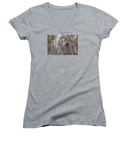 American Woodcock In October Foliage Women's V-Neck T-Shirt (Junior Cut) by Asbed Iskedjian