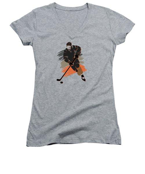 Anaheim Ducks Player Shirt Women's V-Neck T-Shirt (Junior Cut) by Joe Hamilton