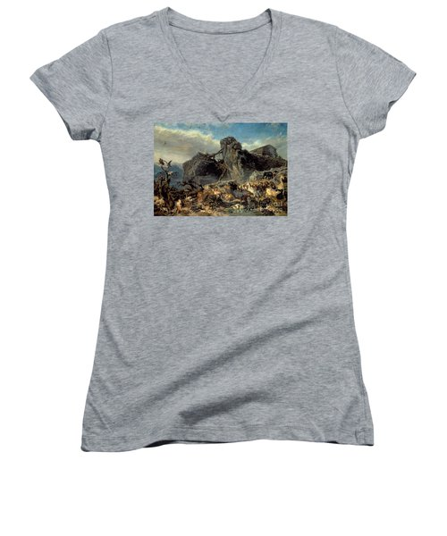 Animals Leaving The Ark, Mount Ararat  Women's V-Neck T-Shirt (Junior Cut) by Filippo Palizzi
