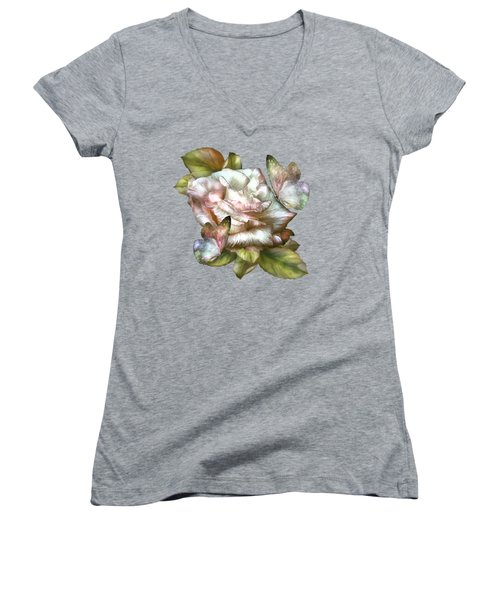Antique Rose And Butterflies Women's V-Neck T-Shirt (Junior Cut) by Carol Cavalaris
