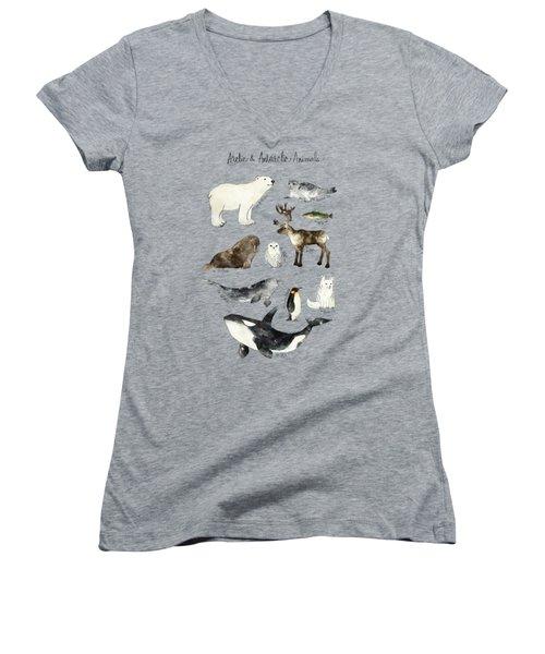 Arctic And Antarctic Animals Women's V-Neck T-Shirt (Junior Cut) by Amy Hamilton