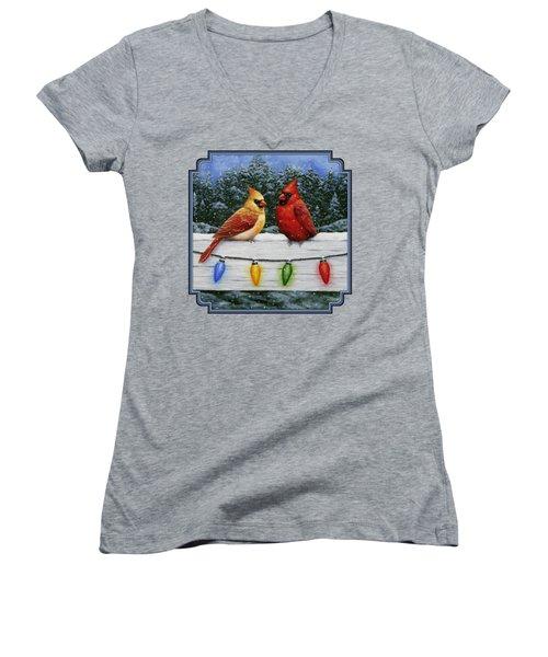 Bird Painting - Christmas Cardinals Women's V-Neck T-Shirt (Junior Cut) by Crista Forest