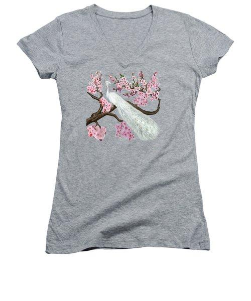 Cherry Blossom Peacock Women's V-Neck T-Shirt (Junior Cut) by Glenn Holbrook