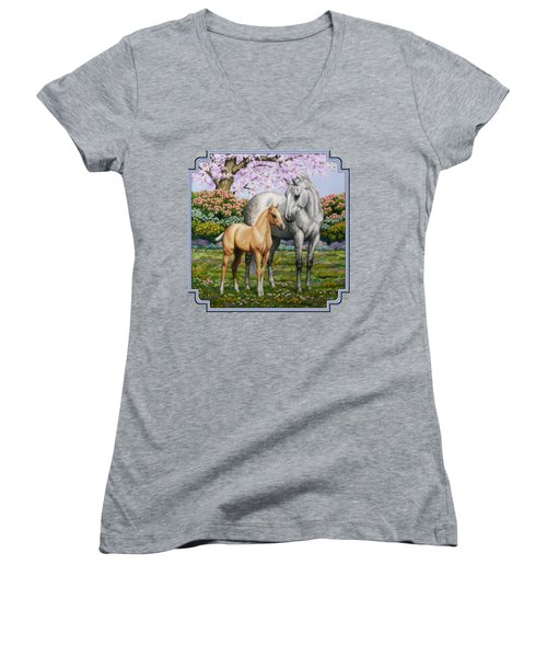 Spring's Gift - Mare And Foal Women's V-Neck T-Shirt (Junior Cut) by Crista Forest