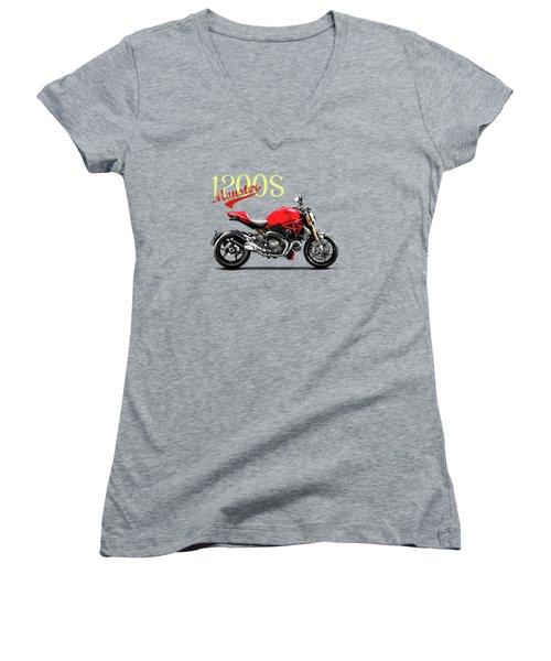 Ducati Monster Women's V-Neck T-Shirt (Junior Cut) by Mark Rogan