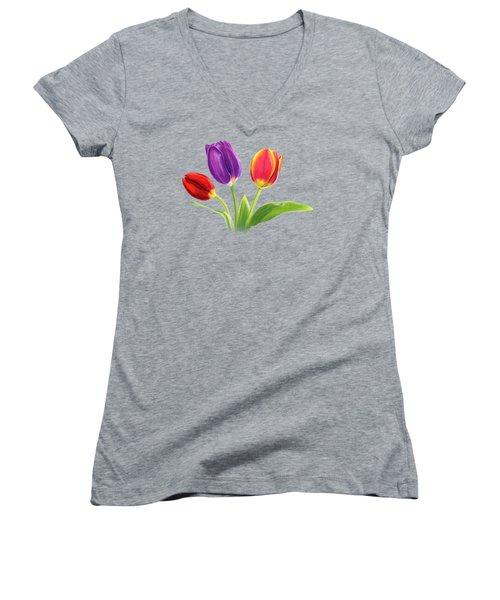 Tulip Trio Women's V-Neck T-Shirt (Junior Cut) by Sarah Batalka