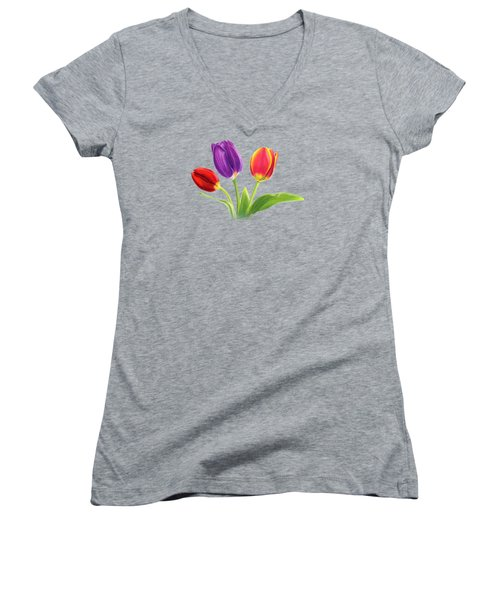 Tulip Trio Women's V-Neck T-Shirt (Junior Cut) by Sarah Batalka