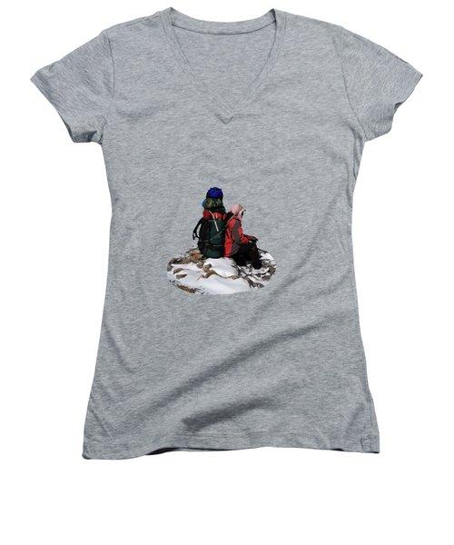 Himalayan Porter, Nepal Women's V-Neck T-Shirt (Junior Cut) by Aidan Moran