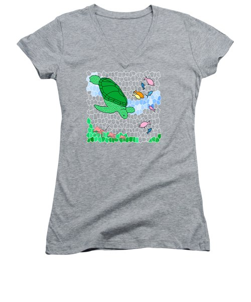 Turtle And Friends Women's V-Neck T-Shirt (Junior Cut) by Methune Hively