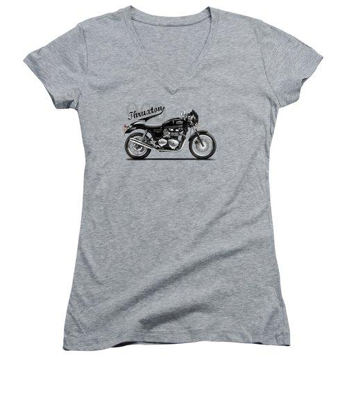 Triumph Thruxton Women's V-Neck T-Shirt (Junior Cut) by Mark Rogan