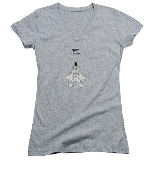 F-22 Raptor - White Women's V-Neck T-Shirt (Junior Cut) by Mark Rogan