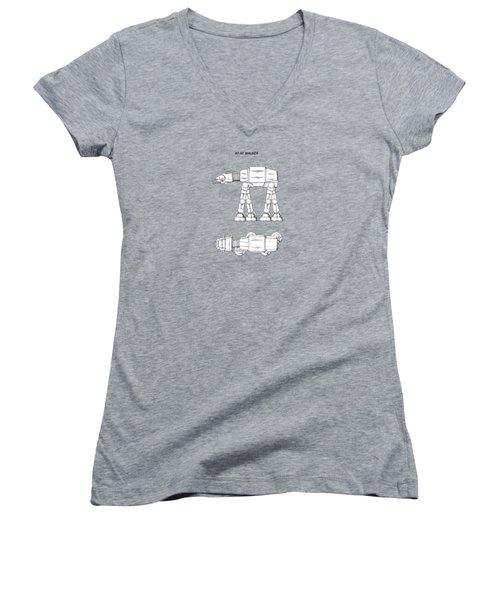 Star Wars - At-at Patent Women's V-Neck T-Shirt (Junior Cut) by Mark Rogan
