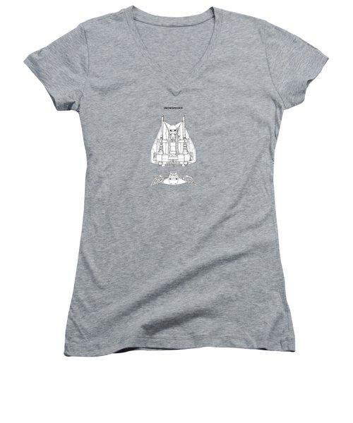 Star Wars - Snowspeeder Patent Women's V-Neck T-Shirt (Junior Cut) by Mark Rogan