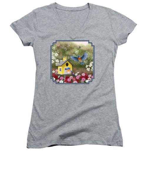 Bluebirds And Yellow Birdhouse Women's V-Neck T-Shirt (Junior Cut) by Crista Forest