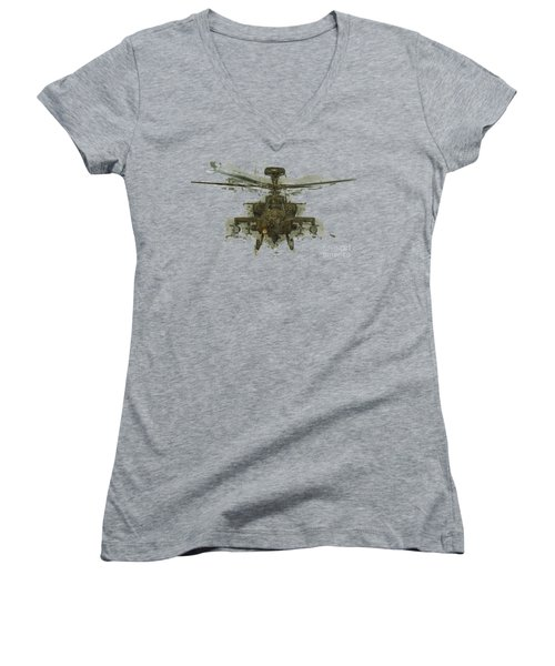 Apache Helicopter Abstract Women's V-Neck T-Shirt (Junior Cut) by Roy Pedersen