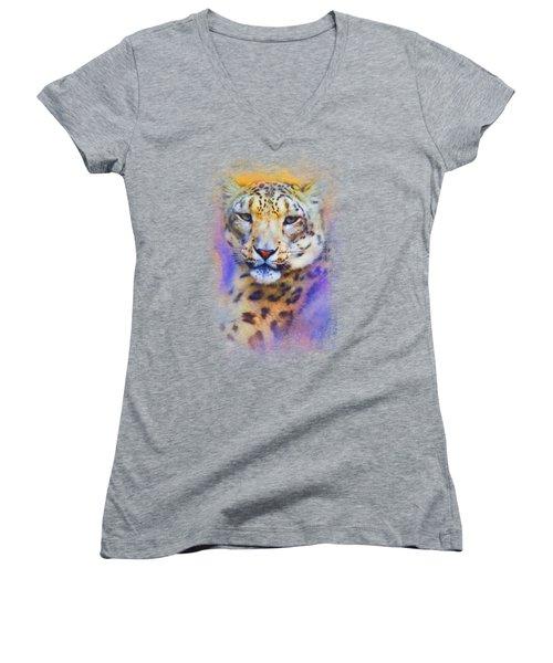 Colorful Expressions Snow Leopard Women's V-Neck T-Shirt (Junior Cut) by Jai Johnson