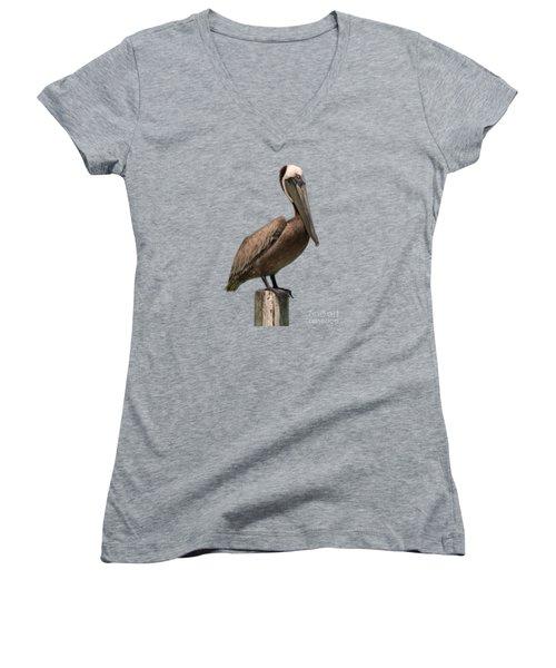 Pelican Perched On A Piling Women's V-Neck T-Shirt (Junior Cut) by John Harmon