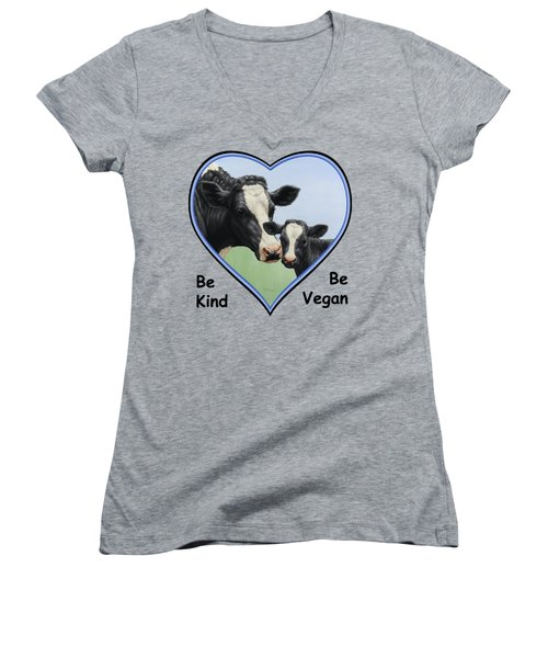 Holstein Cow And Calf Blue Heart Vegan Women's V-Neck T-Shirt (Junior Cut) by Crista Forest