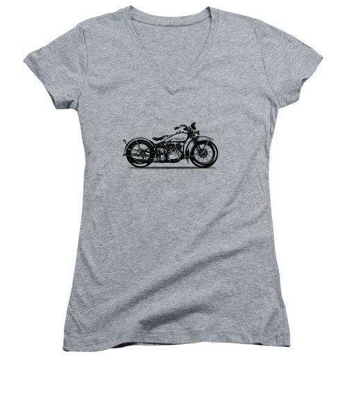 Harley Davidson 1933 Women's V-Neck T-Shirt (Junior Cut) by Mark Rogan