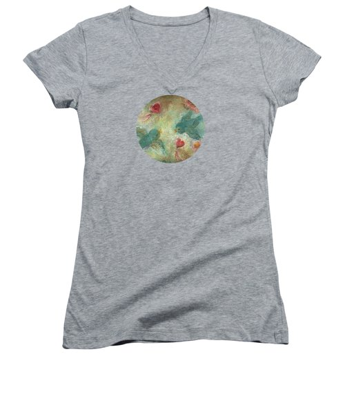 Lovebirds Women's V-Neck T-Shirt (Junior Cut) by Mary Wolf