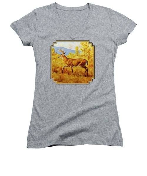 Whitetail Deer In Aspen Woods Women's V-Neck T-Shirt (Junior Cut) by Crista Forest