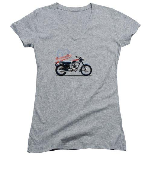 Bonneville T120 1962 Women's V-Neck T-Shirt (Junior Cut) by Mark Rogan