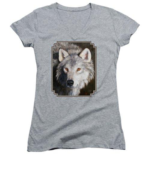 Wolf Portrait Women's V-Neck T-Shirt (Junior Cut) by Crista Forest
