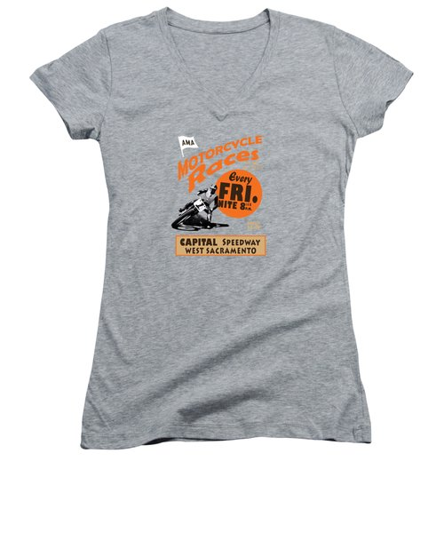 Motorcycle Speedway Races Women's V-Neck T-Shirt (Junior Cut) by Mark Rogan