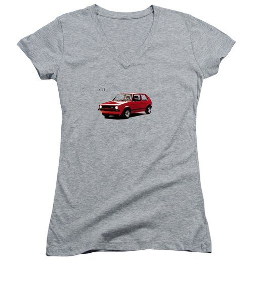 Vw Golf Gti 1976 Women's V-Neck T-Shirt (Junior Cut) by Mark Rogan