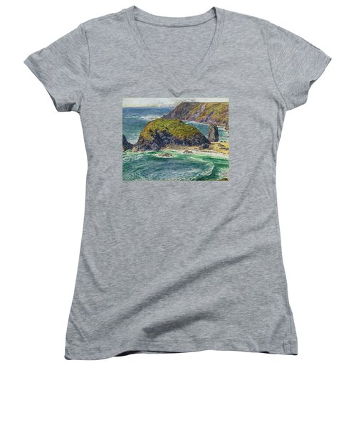 Asparagus Island Women's V-Neck T-Shirt (Junior Cut) by William Holman Hunt