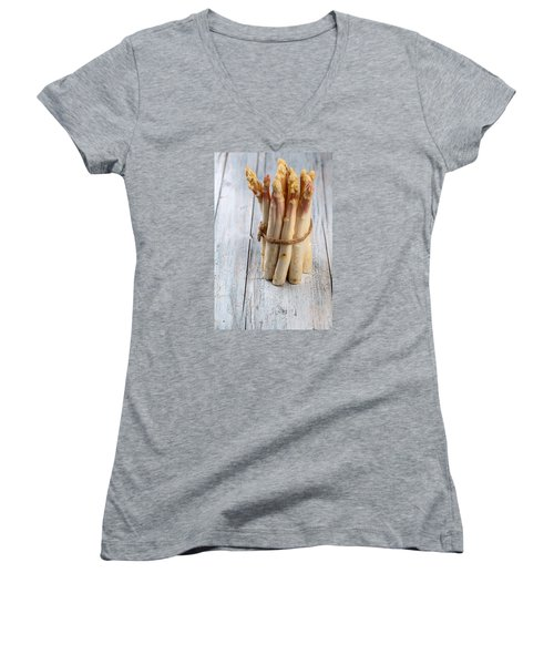 Asparagus Women's V-Neck T-Shirt (Junior Cut) by Nailia Schwarz