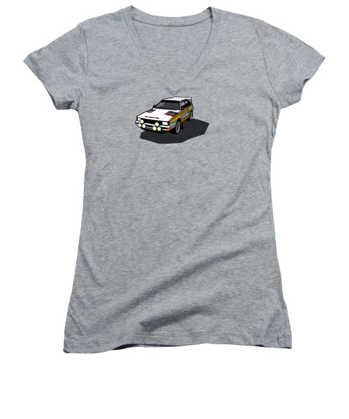 Audi Sport Quattro Ur-quattro Rally Poster Women's V-Neck T-Shirt (Junior Cut) by Monkey Crisis On Mars