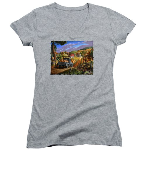 Autumn Appalachia Thanksgiving Pumpkins Rural Country Farm Landscape - Folk Art - Fall Rustic Women's V-Neck T-Shirt (Junior Cut) by Walt Curlee