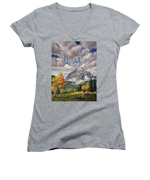 Autumn Echos Women's V-Neck T-Shirt (Junior Cut) by Jerry LoFaro