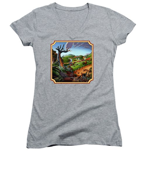 Autumn Wheat Harvest Country Farm Life Landscape - Square Format Women's V-Neck T-Shirt (Junior Cut) by Walt Curlee