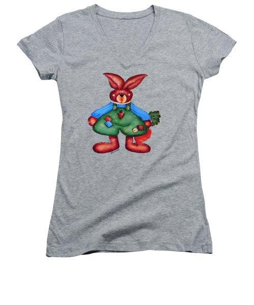 B Is 4bunny Women's V-Neck T-Shirt (Junior Cut) by Tami Dalton