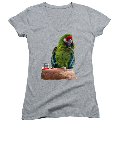 B. J., The Military Macaw Women's V-Neck T-Shirt (Junior Cut) by Zazu's House Parrot Sanctuary