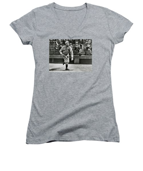 Babe Ruth - Pitcher Boston Red Sox  1915 Women's V-Neck T-Shirt (Junior Cut) by Daniel Hagerman