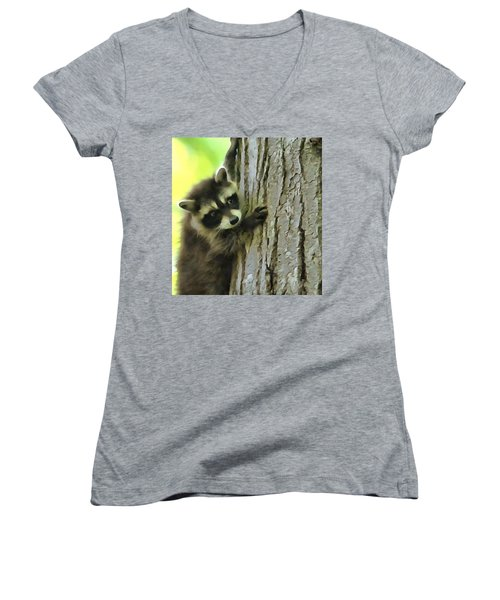 Baby Raccoon In A Tree Women's V-Neck T-Shirt (Junior Cut) by Dan Sproul