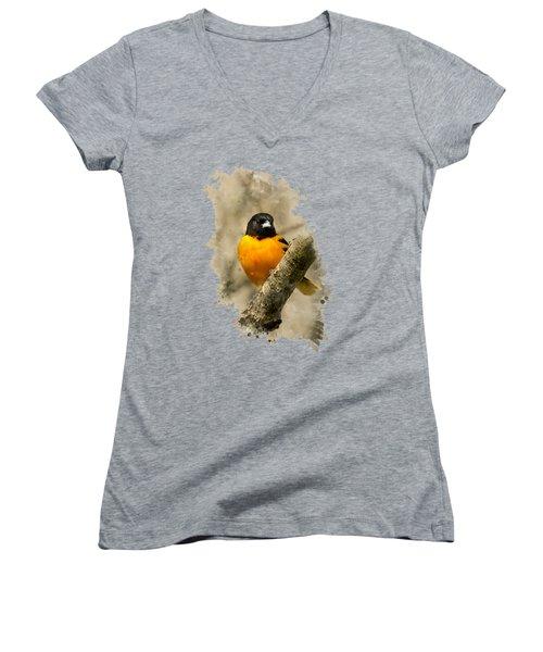 Baltimore Oriole Watercolor Art Women's V-Neck T-Shirt (Junior Cut) by Christina Rollo